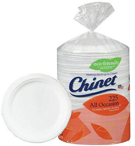 Chinet Big Party Pack, Heavy Weight Paper Plates, Classic White,225 Count - Chinet White Plastic Plate
