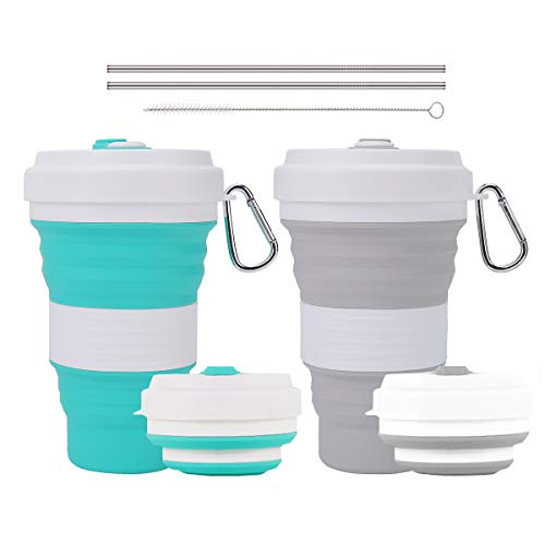 (Crenics Collapsible Travel Cup - 2 Pack Silicone Folding Camping Cup Sport Bottle with Lids - Expandable Scald-Proof Drinking Cup - Portable Bottle with 2 Stainless Steel Straws and 1 Straw Brush)