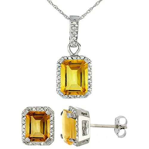 Or blanc 9Ct naturel octogone 8x 6mm citrine Boucles d'oreilles et pendentif Set Accents de diamant