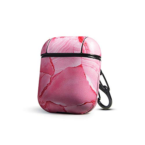 Leather Skin Cover Case - HIDAHE Airpods Case, Cute Airpods Cover, Marble Pattern Airpods Cases for Girls Leather Skins Shockproof Protective Case Cover Skin with Keychain for Apple Airpods 1 & 2 Charging Case, Pink