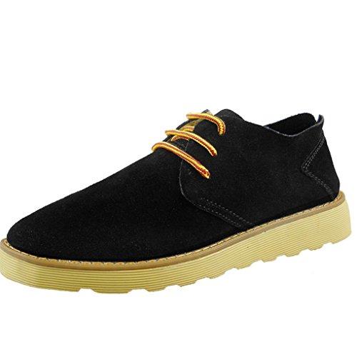 Heart&M Serraje cordones casual ovalada de los hombres los zapatos skater zapatos trabajo Black