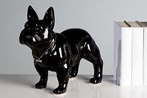 Diseñador de figura escultura Carlino Negro vidriado. Con diseo Collar 29x 35cm