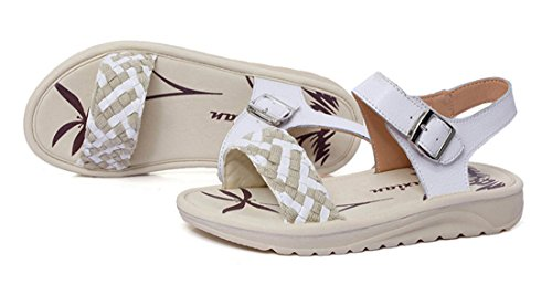 Femmes Plat Cuir Anti Enceintes de beginning Blanc Weave Dérapant Sandales Auspicious Chaussures qwz6OAWann