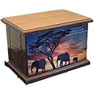 Cremation Urn, Wood funeral Urn, Elephants Wooden Urn with Custom Personalization