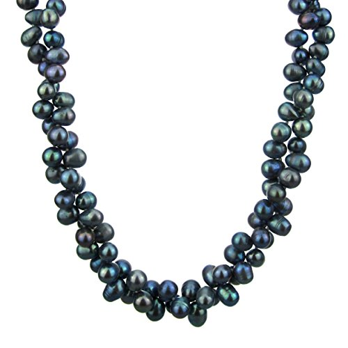 Pearl Strand Necklace 18 Inches 6-7mm Peacock 2Row Rice Top Drilled Freshwater Pearl Necklace Twist (Drilled Top Rice)