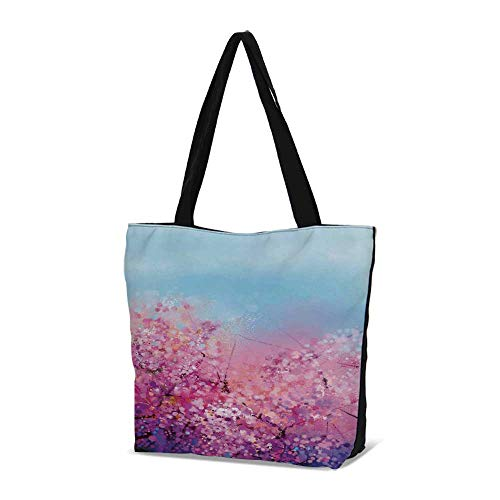 Bella Floral Tote - Watercolor Flower Home Decor Stylish Canvas Tote Bag,Sakura Blossom Floral Beau