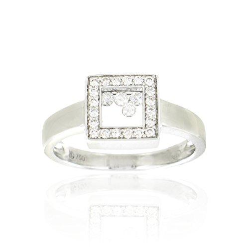 Tousmesbijoux Bague carrée en Or blanc rhodié 750/00 et diamants libres