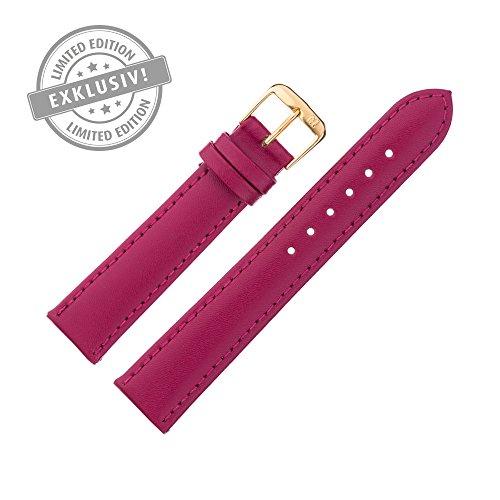 Uhrenarmband 18mm Leder rot - LIMITED EDITION, Farben des Jahres 2016 - Ersatzarmband aus Rindsleder mit glatter Oberfläche, mit Naht - Marburger Uhrenarmbänder seit 1945 - brombeere / gold