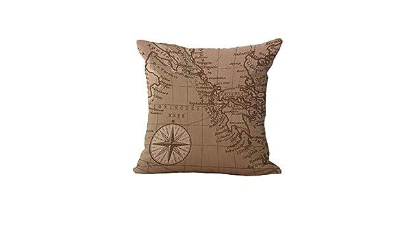Mehouse - Funda de cojín con diseño de mapamundi, algodón y ...
