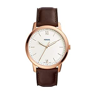 Fossil Men's FS5463 Fossil The Minimalist Brown Analogue Wrist Watch, Brown, Large