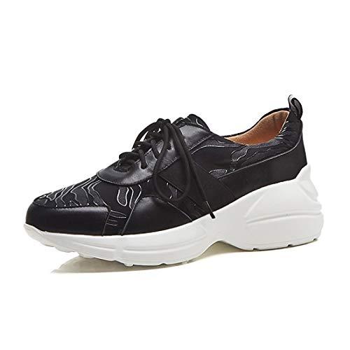 ZHZNVX Brown Black Wedge Brown Leather amp; Mujer Spring Zapatos Comfort de Sneakers Summer Heel Nappa f7qafr6
