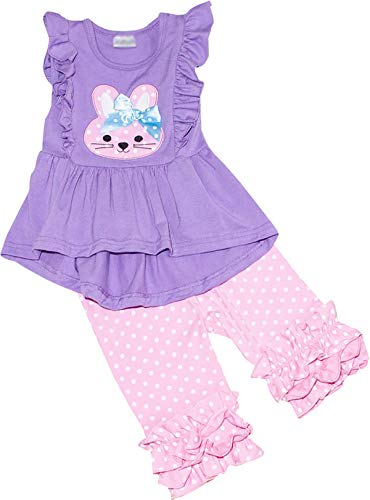Boutique Baby Girls Easter Bunny Hi-Low Tunic Top Polka Dots Capris Set Lavender Pink 12-18M/2XS ()