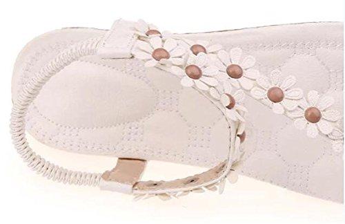 Flat Summer Dress Toe Causal ACE Sandals White Shoes Strap Flower SHOCK Womens Girls Open z8HBUqRw