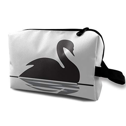 With Wristlet Cosmetic Bags Black Swan Swimming Travel Portable Makeup Bag Zipper Wallet Hangbag -