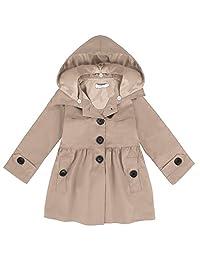 Arshiner Girls' Coat Waterproof Hooded Trench Jacket Dress Outwear Raincoat