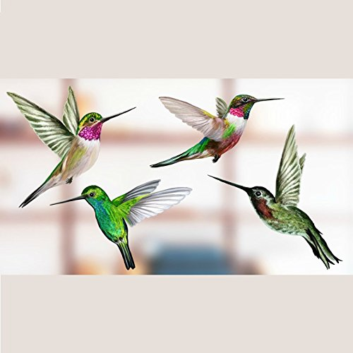 Anti-Collision Window Clings to Prevent Bird Strikes on Window Glass - Set of 4 Hummingbird Window Clings by Window Flakes (Image #2)