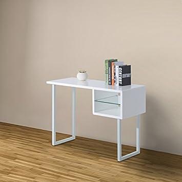 Homcom   scrivania da ufficio tavolo per studio in legno e acciaio ...
