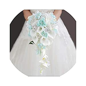 Wedding Bouquets Holder Blue Waterfall White Calla Lily Crystals Bridal Bouquet for Bridesmaid Corsage Brooch Bouquet de Mariage 44