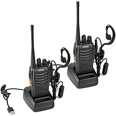 Pack of 2 HESENATE HT-U666 Two Way Radio 16-Channel Rechargeable Professional Transceiver LED Flashlight Walkie Talkie
