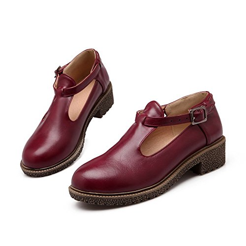 Women's Closed Solid Low Material Pumps Heels Round Buckle WeiPoot Claret Shoes Toe Soft AwOxqAdHF