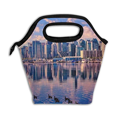 Reusable Lunch Tote Washable Insulated Lunch Bag Canadian Cities Print Lunch Holder Lunch Container For Men Children Kid Women Adults Nurses
