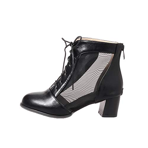 TSDXH108674 Boots Pu AalarDom Women's Heels Black Low Solid Top Kitten Zipper wqaqxnz6