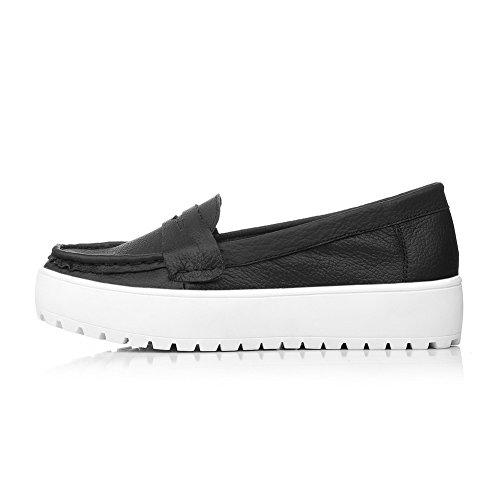 AllhqFashion Mujeres Tacón Bajo Puntera Redonda Material Suave Zapatos de Tacón Negro