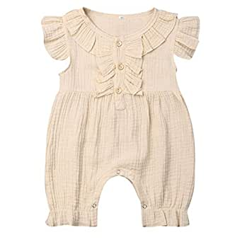 Weixinbuy Infant Baby Girls Boys Solid Color Crewneck Flare Sleeve Rompers Bodysuit Overall Jumpsuit Clothes Beige