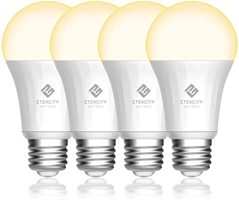 Etekcity ESL100 Smart Light Bulb Works with Alexa, Google Home and IFTTT, A19 E26 Soft White Dimmable LED, 9W 60W Equivalent , 806LM, 2700K, No Hub Required, 4 Pack