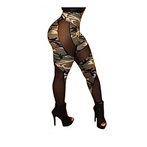 Gemgeny Women's Fashion Sexy Camouflage Net Yarn Nine Points Of tall Waist Capri leggings (Sexy Camo Outfits)