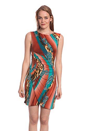 Abbino J464 Kleider Damen Frauen Mädchen - Made in Italy - 1 Farbe - Stilvoll Modern Übergang Frühling Sommer Herbst Damenkleider Feminin Sexy Flexibel Mode Verkauf Festlich Elegant Orange tFQfzA
