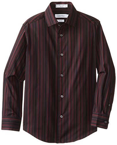 Calvin Klein Big Boys' Long Sleeve Roadmap Stripe Woven Shirt, Black, 18