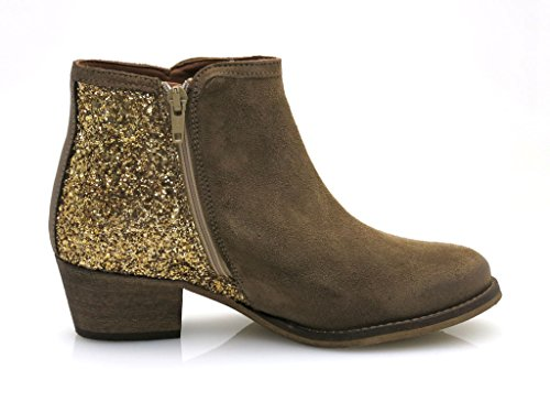 Innocent Stiefelette Cowboy-Stiefelette Leder gold Beige