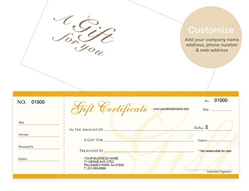 Custom Gift Certificates Cards with Envelopes 100 set - NJ67SB- Gift Coupons,Vouchers for Small Business,Spa,Makeup,Hair Beauty Salon,Restaurant,Wedding Bridal,Baby Shower,Holiday,Christmas,Birthday ()