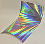 Holographic Oil Slick, Rainbow, Sign Vinyl, Self-Adhesive (24 inch x 30 ft, Silver)