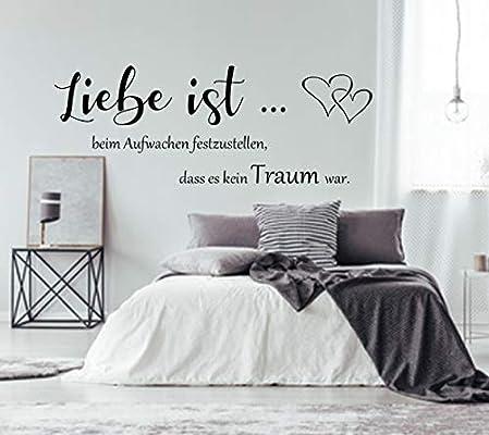 Wandtattoo AA561 ++Liebe ist beim Aufwachen festzustellen dass es kein  Traum war++ Schlafzimmer Wandaufkleber Spruch