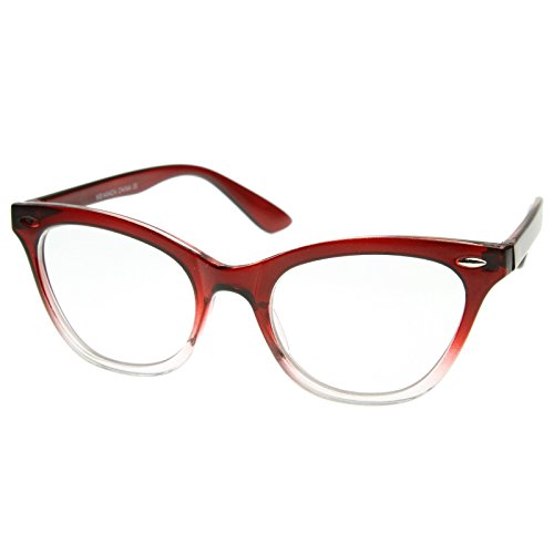 AStyles - Vintage Inspired Gradient Half Tinted Frame Clear Lens Cat Eye Glasses (Red-Clear-Bottom, ()