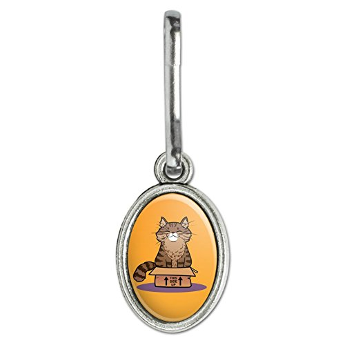 (GRAPHICS & MORE Cat Sitting in Box Antiqued Oval Charm Clothes Purse Suitcase Backpack Zipper Pull Aid)