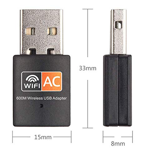 XVZ USB WiFi Adapter, 600mbps Dual Band 2.4G/ 5G Wireless Adapter, Mini Wireless Network Card WiFi Dongle for Laptop/Desktop/PC, Support Windows10/8/8.1/7/Vista/XP/2000, Mac OS X 10.6-10.13
