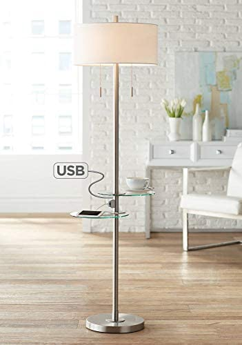 Concierge Modern Floor Lamp with Dual Tables Swivel Glass USB Port Brushed Nickel White Drum Shade for Living Room – Possini Euro Design
