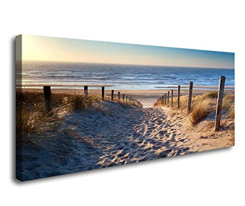 Canvas Prints,Footprints Beach Wall Art Oil Paintings Printed Pictures Stretched for Home Decoration