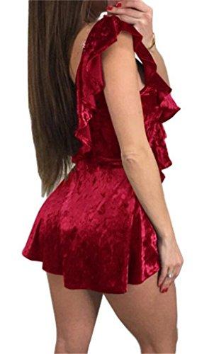 Sangle Sexy Domple Des Femmes Open Back Club De Velours Volants Coupe-bas Mini Robe Rouge