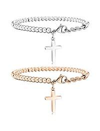 MOWOM 2PCS Silver Rose Gold Tone Stainless Steel Bracelet Wrist Link Heart