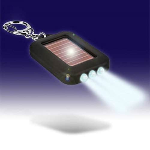 Solar-powered LED Flashlight w/ Keychain, Outdoor Stuffs