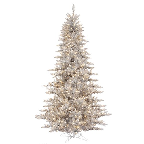 Vickerman Fir Tree with 234 PVC Tips & 100 Dura-lit Style Lights on Grey Wire, 3', Clear/Silver