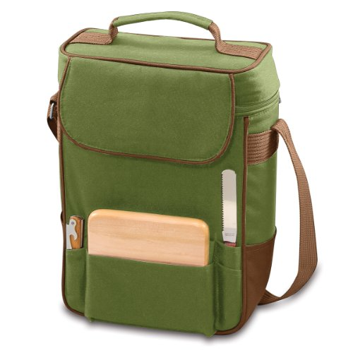 LEGACY - a Picnic Time Brand Duet Insulated Wine and Cheese Tote, Olive/Pine Green