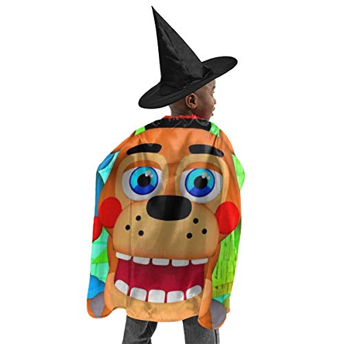 RGHDFFD72JFD9 Five Nights Smile Freddy Unisex Children 3D Printed Halloween Witch Set Cloak Cape Party Cosplay Fancy Dress Costume with Wizard Cap Hat ()
