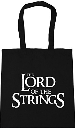 HippoWarehouse Lord of the Strings Tote Shopping Gym Beach Bag 42cm x38cm, 10 litres Black