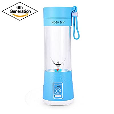 Portable Juicer Blender, Household Fruit Mixer - Six Blades in 3D, 380ml Fruit Mixing Machine with USB Charger Cable for Superb Mixing, USB Juicer Cup by Moer Sky