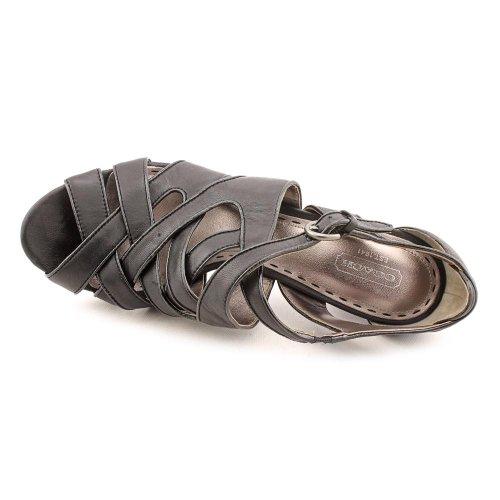 Trener Aenya Kvinner Plattform Sort Skinn Sandal Size Oss 9,5 Svart A3060